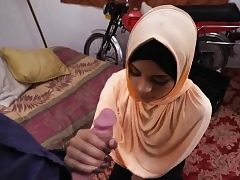 Teen arab hoe suck a yam-sized cock like a professional