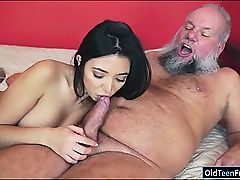 Mexican Frida Sante enjoys to blow and ride on an old cock