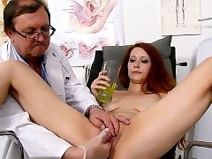 Redhead doctor wide open and cumshot
