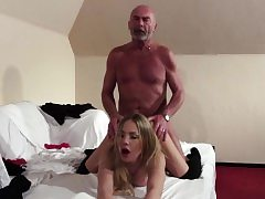 Old Young Towheaded blowjob and hardcore fuck from grandpa