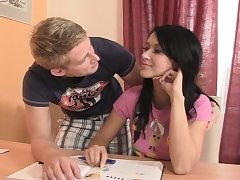 Czech brown-haired lured into buddies cock riding