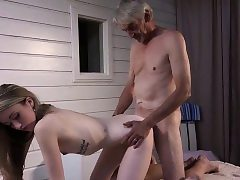 Skinny Nubile Massage has sex with grandpa and gargles manmeat