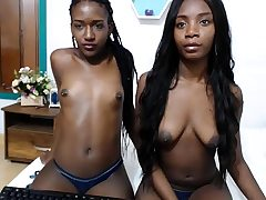 Black sapphic licks ebony pussy of a teen toy