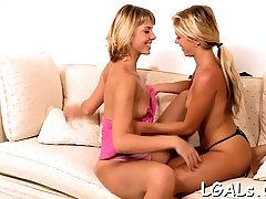 One of nasty teen whores is getting fuckbox fisted by her gf