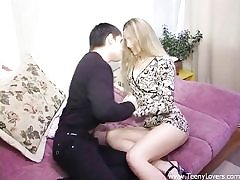 High-heeled teenage gets pounded