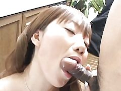 Asian gf stops washing up and gives blowjob