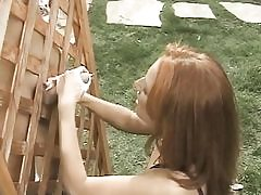 Diminutive titted ginger-haired  plays w labia while jerk