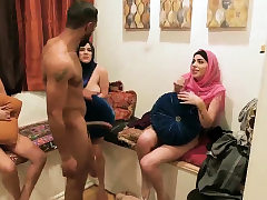 Soiree chick internal ejaculation hard-core Scorching arab chicks try four-way