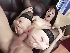 Youthfull anal honey in stocking gets anal fuck