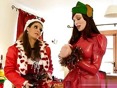 Two hot Christmas honies about to have rough sex with each other