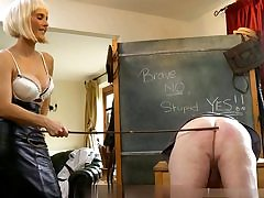 Nasty mature man leans over and gets his nude culo spanked with a stick