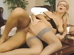Insane assistant gets her vagina crevice pounded on the office table