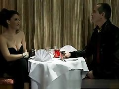 Horny duo is having a dinner before some stiff core sex action