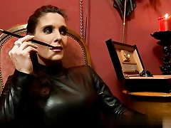 Crazy whore wearing all leather on sex vid smoking a ciggy